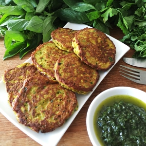 Zucchini Fritters with Mixed Herb Salsa