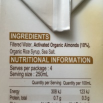Pureharvest Almond Milk Ingredients