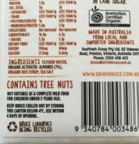 Nutty Bruce Almond Milk Ingredients