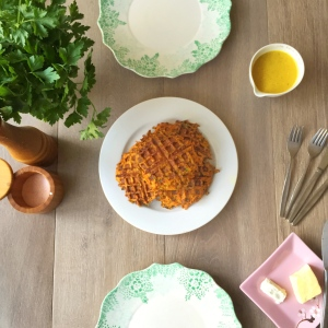 Carrot Waffles with Gold Milk Sauce