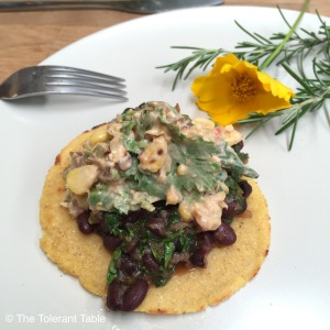 Masa harina tortilla with black turtle beans and smokey creamed corn coriander dressing